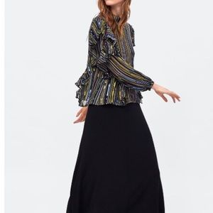 Zara Multicolor Sequins Ruffled Top 🖤✨